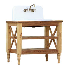 "42"" Reclaimed Wood French Vanity High Back Cast Iron Farm Sink Stand Package"