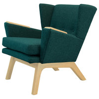 Mid Century Modern Handcrafted Lounge Accent Wingback Chair Teal Green, Dark Woo