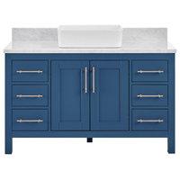 """Kendall Deep Blue Bathroom Vanity With Vessel Sink, 48"""""""