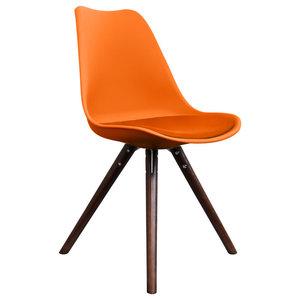 Scandi Style Dining Chair, Pyramid Walnut Legs, Burnt Orange