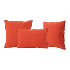 GDF Studio 3-Piece Corona Outdoor Patio Water Resistant Pillows, Orange, Set