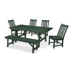 POLYWOOD Vineyard 6-Piece Rustic Farmhouse Side Chair Dining Set with Bench