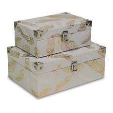 Fine Feathers Storage Boxes, Champagne, Set of 2