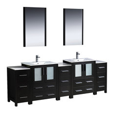 "Fresca Torino 84"" Espresso Double Sink Vanity, 3 Side Cabinets, Integrated Sinks"