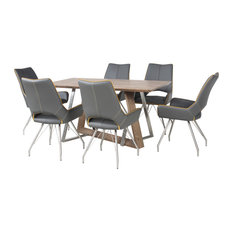 Madison Dining Table With 6 Melbourne Chairs, Graphite Grey, Small