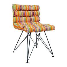 Retro Bright Stripe Metal Leg Padded Chair, Orange/Pink