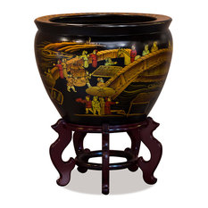 "Hand Painted Chinoiserie Courtyard Fishbowl Planter, 14"", With Wooden Stand"