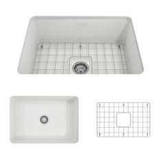 Sotto Undermount Kitchen Sink With Grid and Strainer, White, 27""