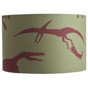 """PaperBoy Interiors """"D'ya-Think-E-Saurus"""" Lampshade, Green and Red, Floor or Tabl"""