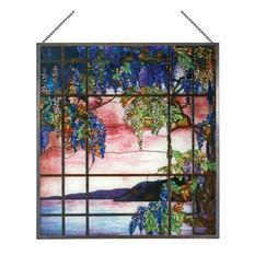 Tiffany Stained Glass Panel, View of Oyster Bay