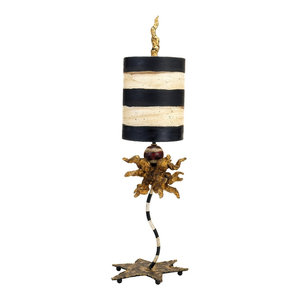 1-Light Modern Table Lamp With Gold Leaf, Black and Cream Stripes