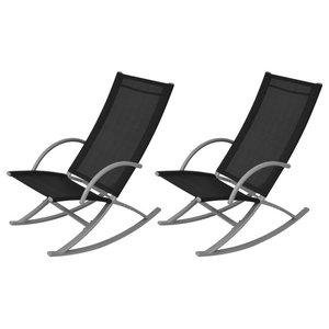 vidaXL Garden Rocking Chairs, Set of 2, Black
