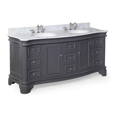 "Katherine 72"" Double Vanity With Carrara Top, Charcoal Gray"