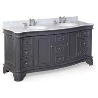 "Katherine 72"" Double Vanity With Carrara Top, Charcoal Gray"
