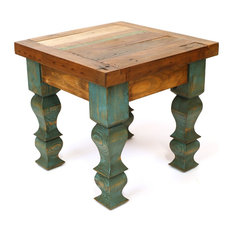 Rustic Old Door End Table, Turquoise