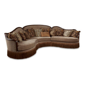 Charmaine Traditional Upholstered Chesterfield Reversible Sectional Sofa Traditional