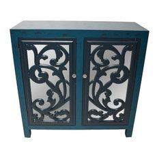 34   Mirror Glam 2 Door Cabinet Blue