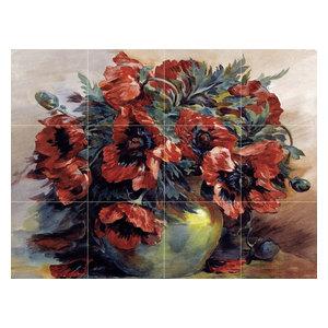 Tile Mural, Poppies Backsplash, Ceramic Matte