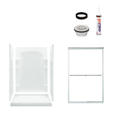 Sterling  Ensemble 75x34x48 Alcove Shower Kit, Clear Glass, Silver