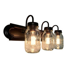 Mason Jar Vanity Bathroom Light Trio