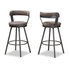 Stevan Industrial Gray Faux Leather Upholstered Pub Stool Set