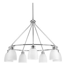Lucky Seven Light Chandelier Polished Chrome White Prismatic Gla
