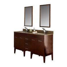 "Ronbow 58"" Venus Solid Wood Double Vanity Set, Dark Cherry"