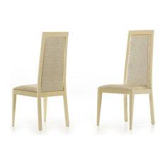 Modrest Ancona Beige Crocodile Eco-Leather Dining Chair Set Of 2