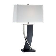 Table Lamp, Dark Walnut Ps White Fabric Shd, E27 Cfl 23W