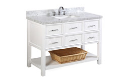"New Hampshire 48"" Bath Vanity, Base: White, Top: Carrara Marble"