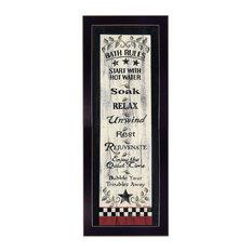 """Bath Rules"" by Linda Spivey, Printed Wall Art Framed Poster, Black Frame"