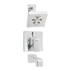 The Edge Shower System With Diverter Valve and Tub Spout, Polished Chrome
