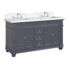 "Elizabeth 60"" Bathroom Vanity, Base: Marine Gray, Top: Quartz, Double Vanity"