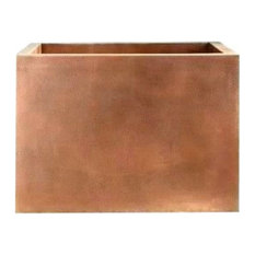 Square Copper Japanese Soaking Tub by SoLuna, Matte Copper, Corner Seat