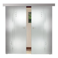 """Double Leaf  Sliding Glass Barn Doors and Glass Application, 72""""x84"""""""