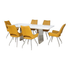 Phoenix Extendable Table With 6 Melbourne Chairs, Medallion Yellow, Large