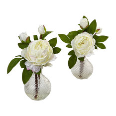 "Nearly Natural Home Decor 11"" Peony With Vase, Set of 2"