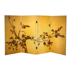 3' Tall Double Sided Birds on Plum Tree Canvas Room Divider