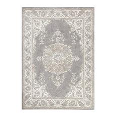 Alcott Gray Cotton Woven Persian Rug, 5'x8'
