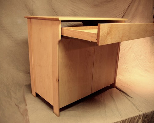 Mid-century Modern style maple stereo cabinet