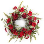 Melrose International - Poppy/Geranium Wreath, Red/Green - Large Poppy flowers with hints of Geranium make up this stunning wreath. A variety of greenery with thick twig base make up the background for the stunning florals.
