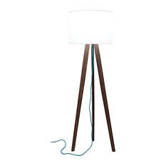 solid walnut tripod floor lamp with teal cord floor lamps