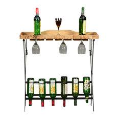 Elkton Solid Wood Folding Industrial Wine Bar Table
