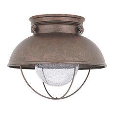 Sebring LED Outdoor Ceiling Flush Mount, Weathered Copper