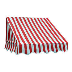Window Awning Door Canopy, Red, White Stripes, 6'x2'