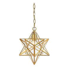 "Stella 12"" Moravian Star Metal/Clear Glass LED Pendant, Gold Leaf/Clear"