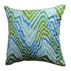 Flamestitch Pillow, Green/Aqua/Teal/Blue/White, With Insert