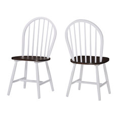 GDF Studio Crosby High Back Spindled Dining Chairs, Brown/White, Set of 2