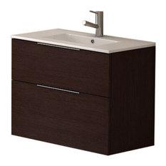 Galsaky Modern Wall Mount Bathroom Vanity With Integrated Sink, Dark Brown