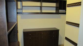 Closet - dresser w/drawers & hampers, accessory racks, open shelving, hanging